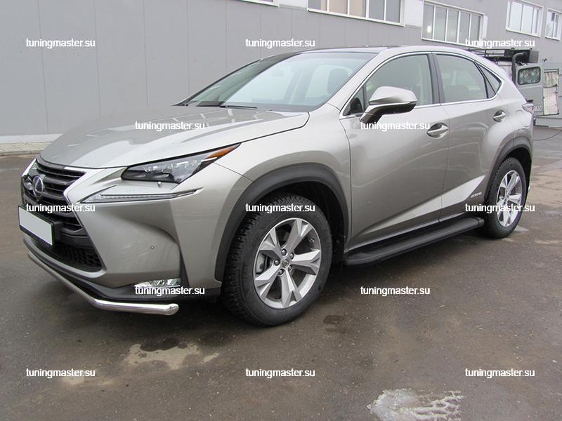 Пороги алюминиевые Lexus NX (Optima Black)