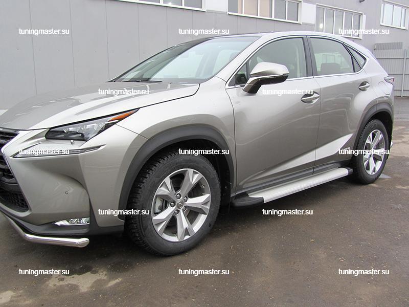 Пороги алюминиевые Lexus NX (Optima Silver)