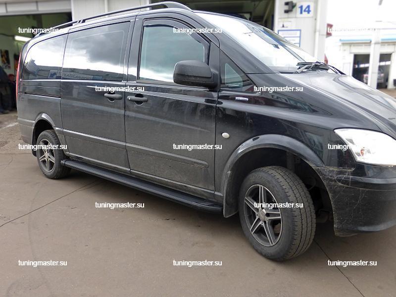 Пороги алюминиевые Mercedes Vito W639 (Optima Black)