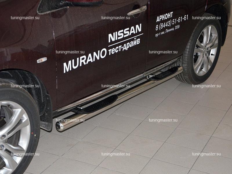 Пороги Nissan Murano труба с проступями Ø76