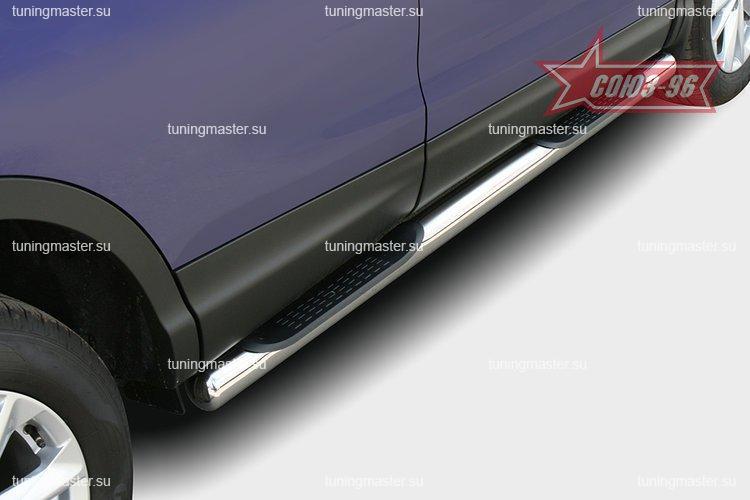Пороги Nissan Qashqai J11 труба с проступью Ø76