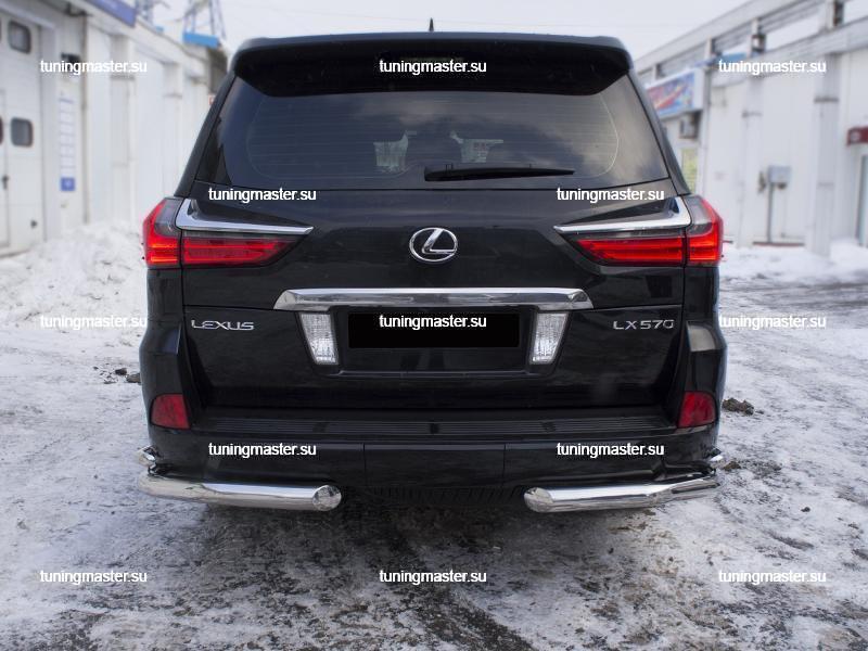 Защита заднего бампера Lexus LX 570 двойные углы Ø76/42