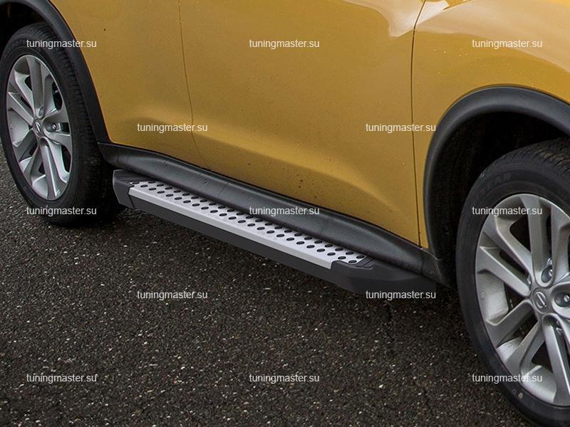 Пороги алюминиевые Nissan Juke (бмв стиль)