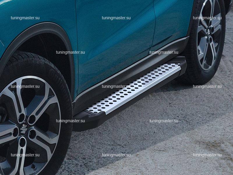 Пороги алюминиевые Suzuki Vitara (бмв стиль)