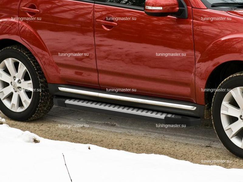 Пороги алюминиевые Mitsubishi Outlander XL (бмв стиль)