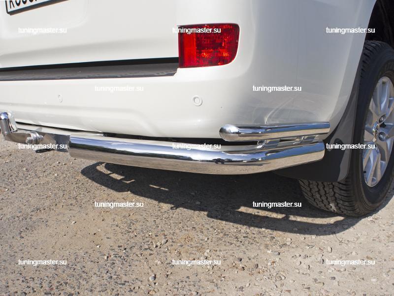 Защита заднего бампера Toyota Land Cruiser 200 двойные углы риваль 1