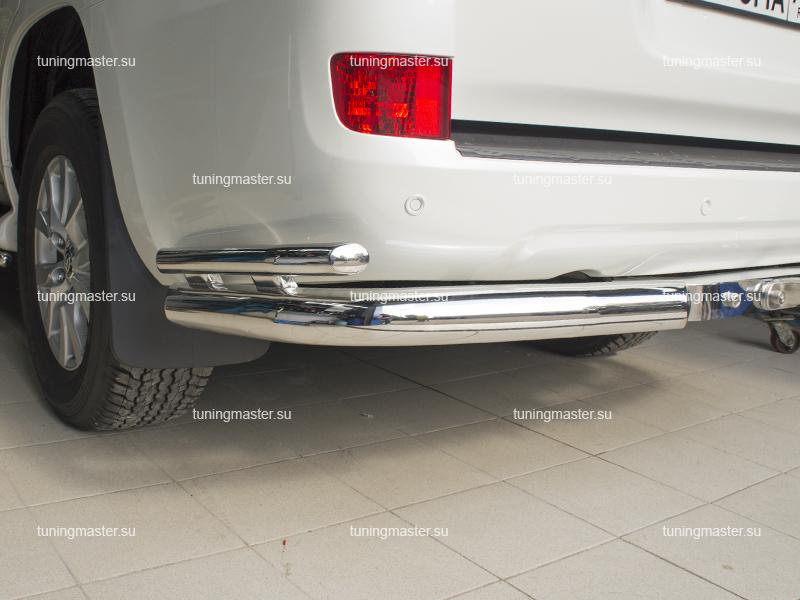 Защита заднего бампера Toyota Land Cruiser 200 двойные углы Ø76/42