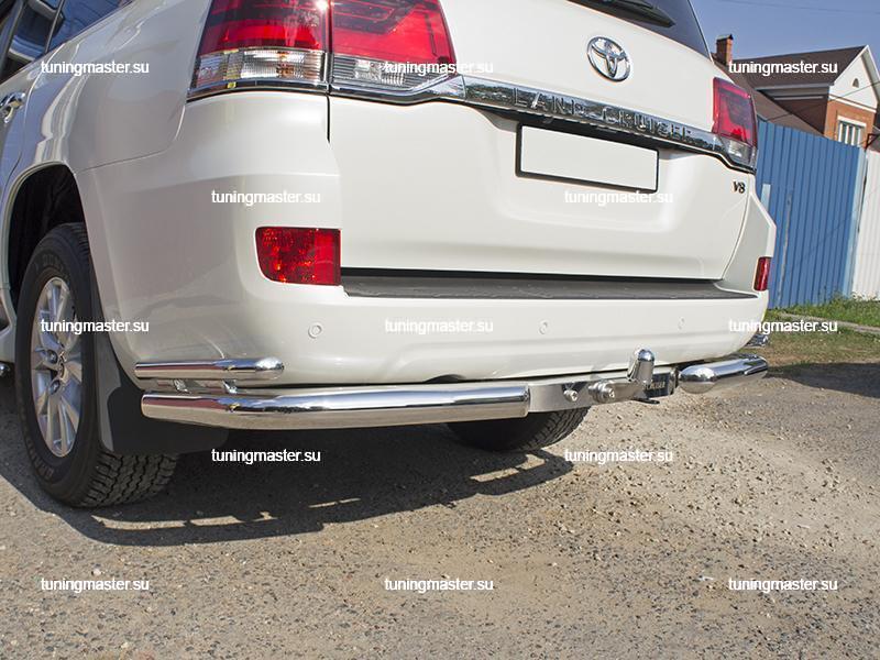 Защита заднего бампера Toyota Land Cruiser 200 двойные (2)