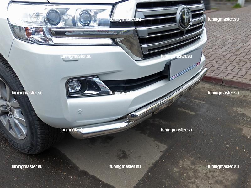 Защита переднего бампера Toyota Land Cruiser 200 с профильной защитой Ø76/57