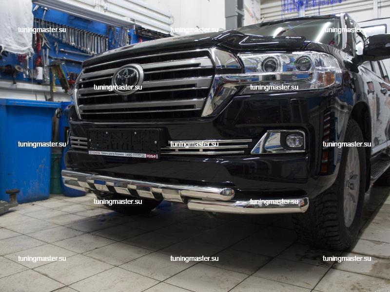 Защита переднего бампера Toyota Land Cruiser 200 с профильной защитой (2)