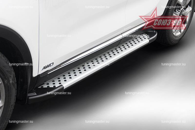 Пороги Kia Sorento Prime алюминиевый профиль