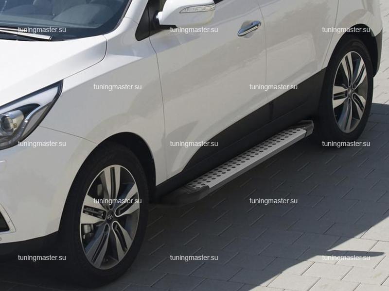 Пороги алюминиевые Kia Sportage (бмв стиль)