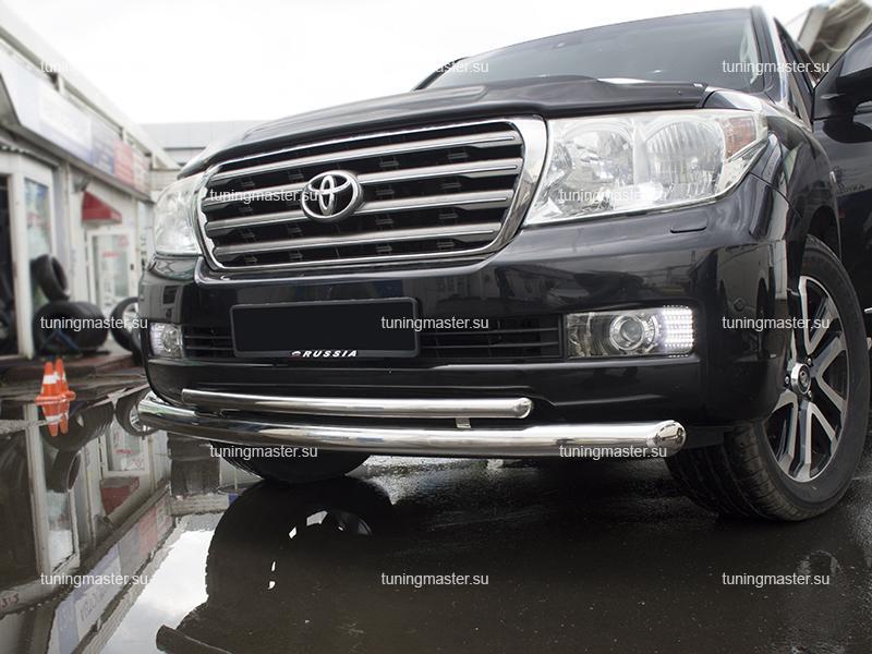 Защита переднего бампера Toyota Land Cruiser 200 двойная Ø76/42