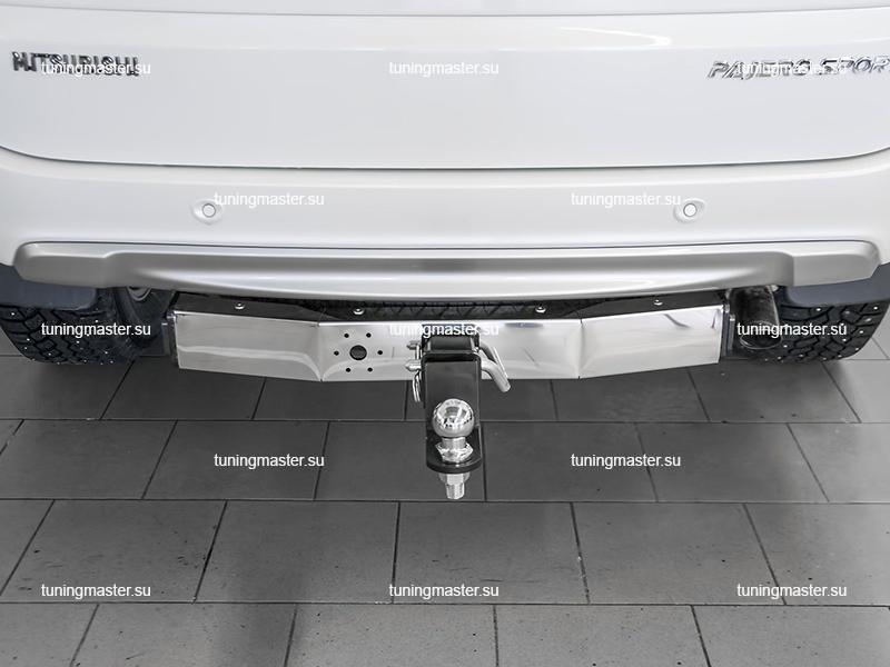 Фаркоп Mitsubishi Pajero Sport с нержавеющей накладкой (быстросъемный) 1