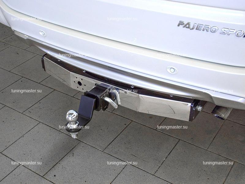 Фаркоп Mitsubishi Pajero Sport с нержавеющей накладкой (быстросъемный)
