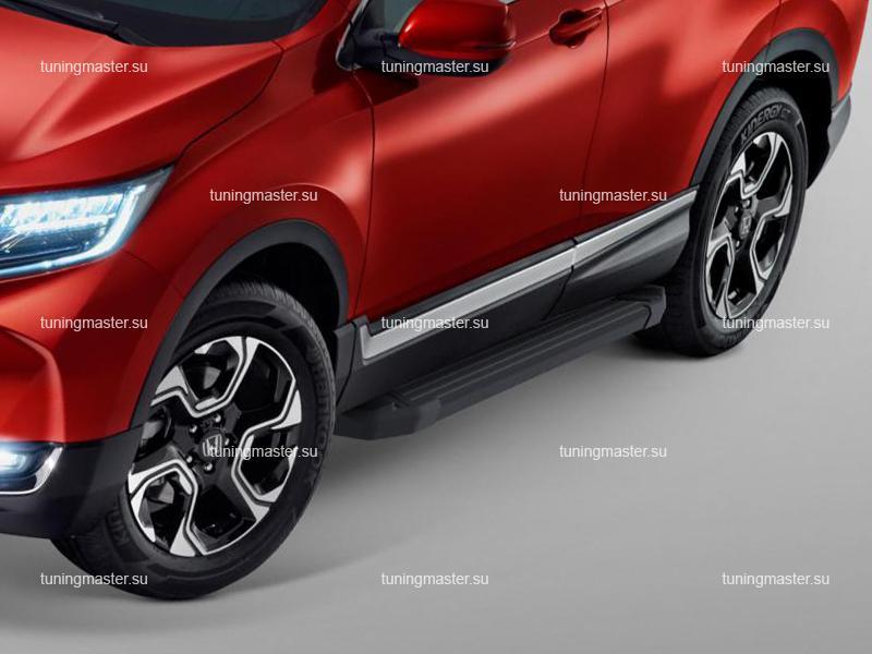 Пороги алюминиевые Honda CR-V (Black)