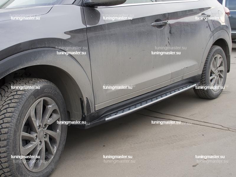 Пороги алюминиевые Hyundai Tucson (Original Style)