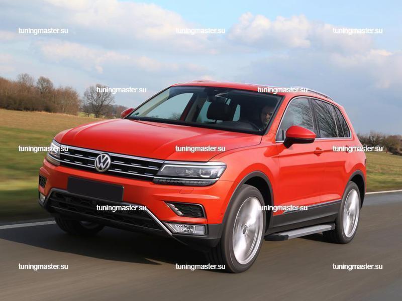 Пороги алюминиевые Volkswagen Tiguan (Silver)