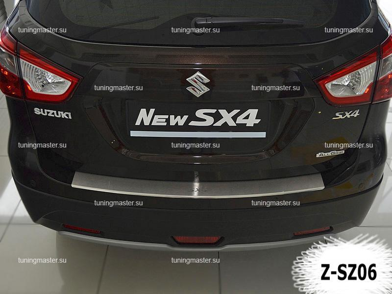 Накладка на задний бампер Suzuki SX4 с загибом