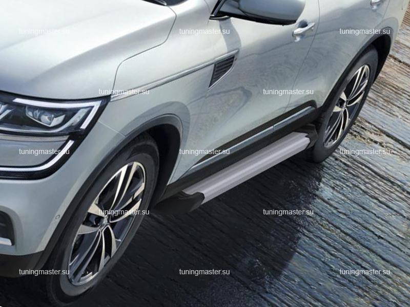 Пороги алюминиевые Renault Koleos (Silver)