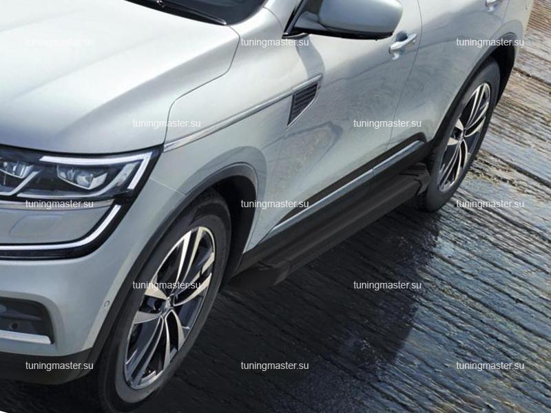 Пороги алюминиевые Renault Koleos (Black)