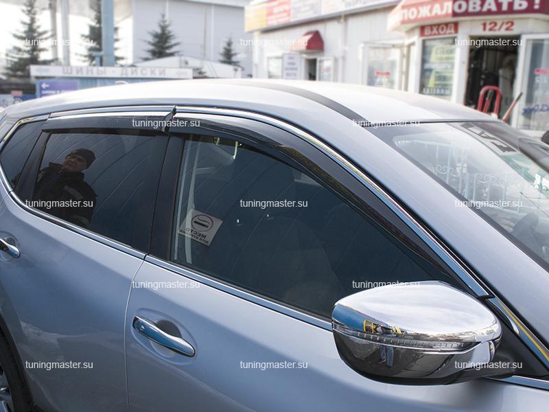 Дефлекторы боковые Nissan X-Trail T32 с хромированным молдингом