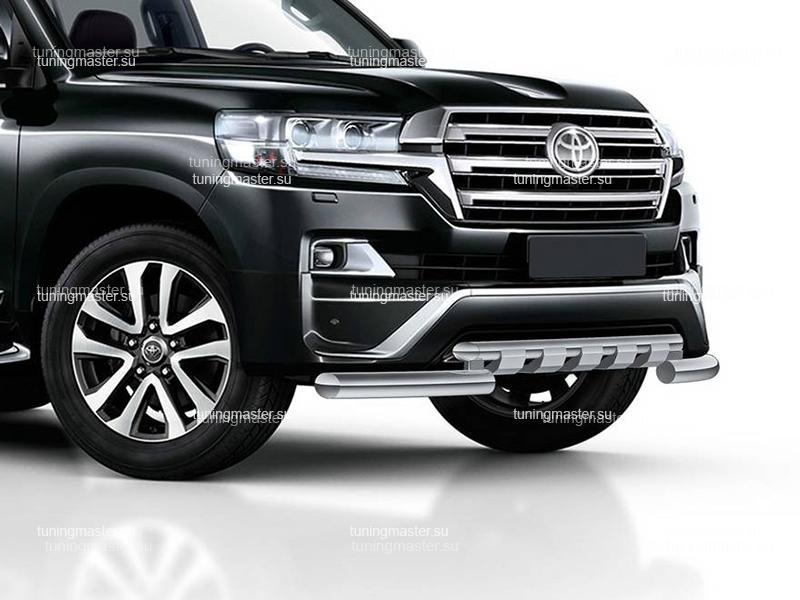Защита переднего бампера Toyota Land Cruiser 200 Executive с профильной защитой Ø76/57