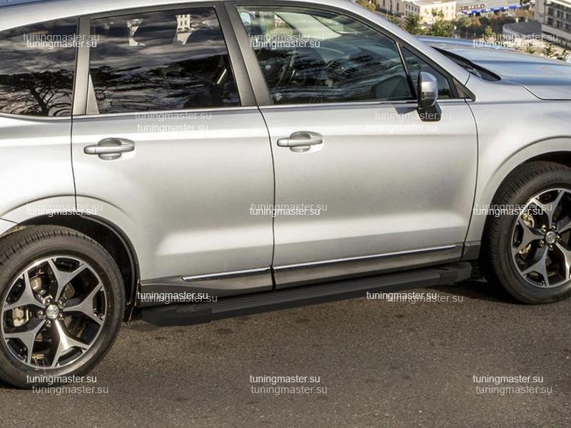 Пороги алюминиевые Subaru Forester (Black)