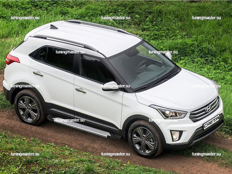 Пороги алюминиевые Hyundai Creta (Silver)