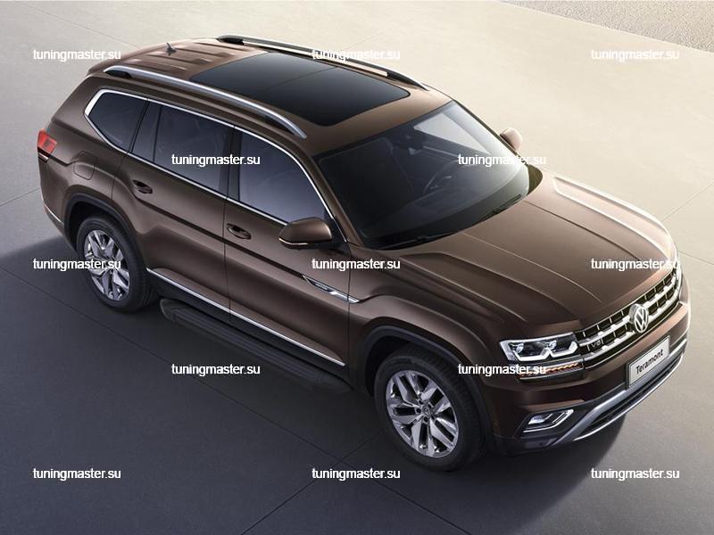 Пороги алюминиевые Volkswagen Teramont (Black)