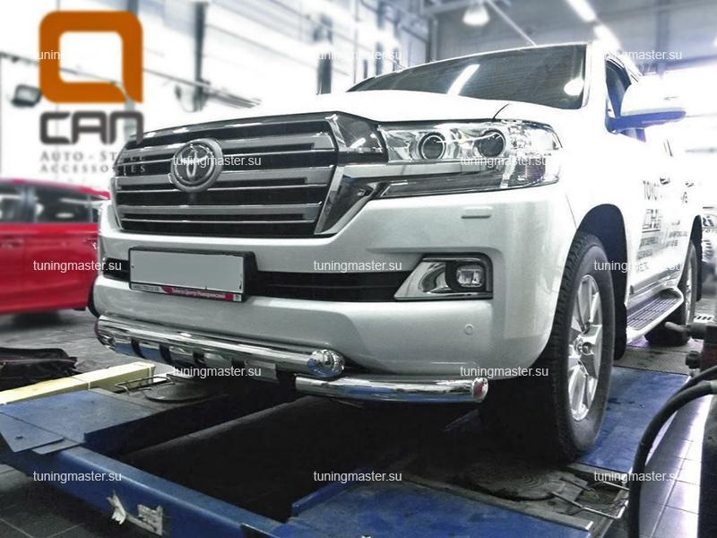 Защита переднего бампера Toyota Land Cruiser 200 двойная