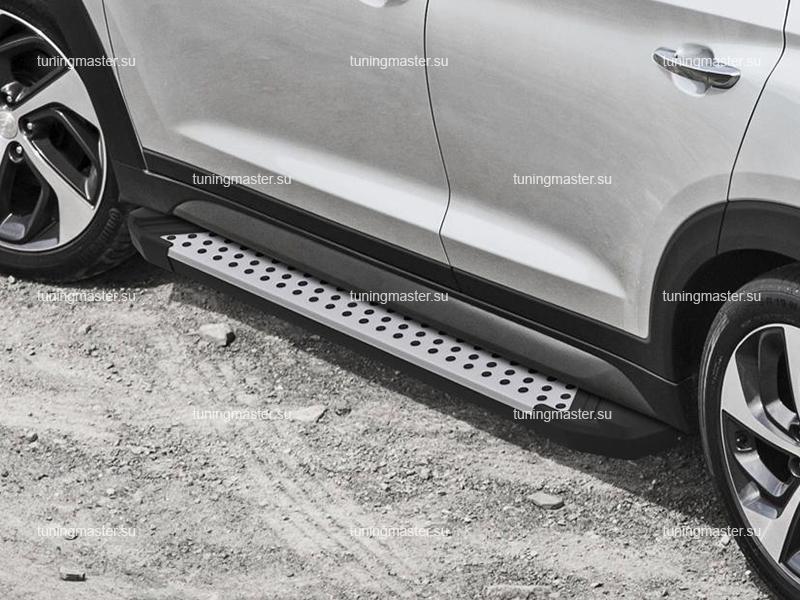 Пороги алюминиевые Hyundai Tucson (BMW Style)
