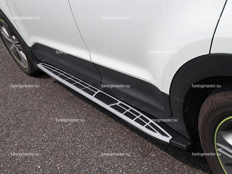 Пороги алюминиевые Hyundai Creta (Cayenne Style)