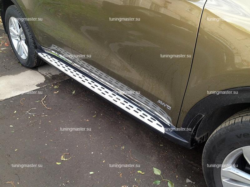 Пороги алюминиевые Kia Sportage (BMW Style)
