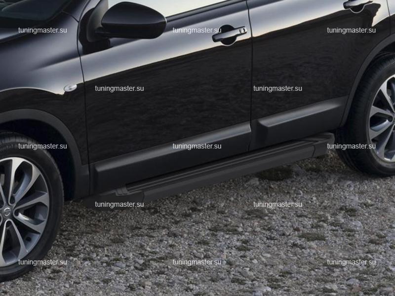 Пороги алюминиевые Nissan Qashqai (Black)