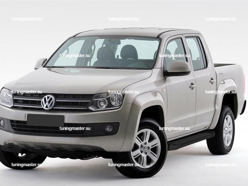 Пороги алюминиевые Volkswagen Amarok (Black)