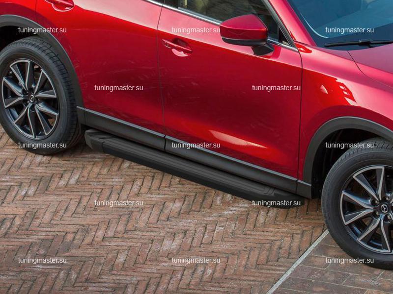 Пороги алюминиевые Mazda CX5 (Black)