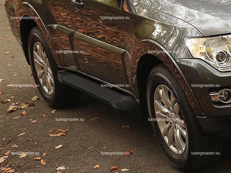 Пороги алюминиевые Mitsubishi Pajero 4 (Black)