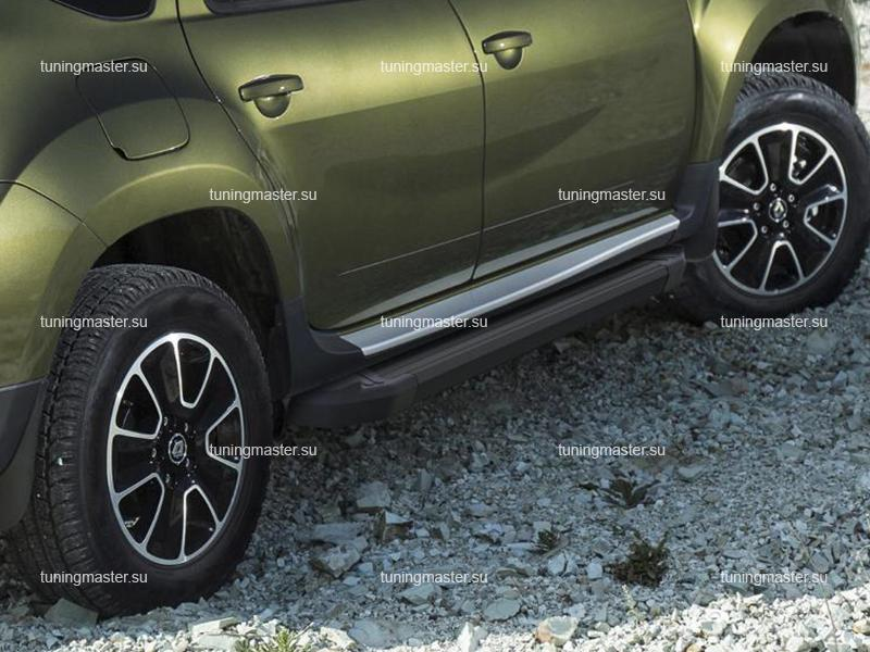 Пороги алюминиевые Renault Duster (Black)
