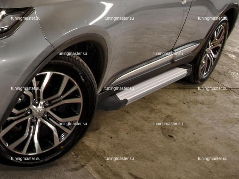 Пороги алюминиевые Mitsubishi Outlander (Silver)