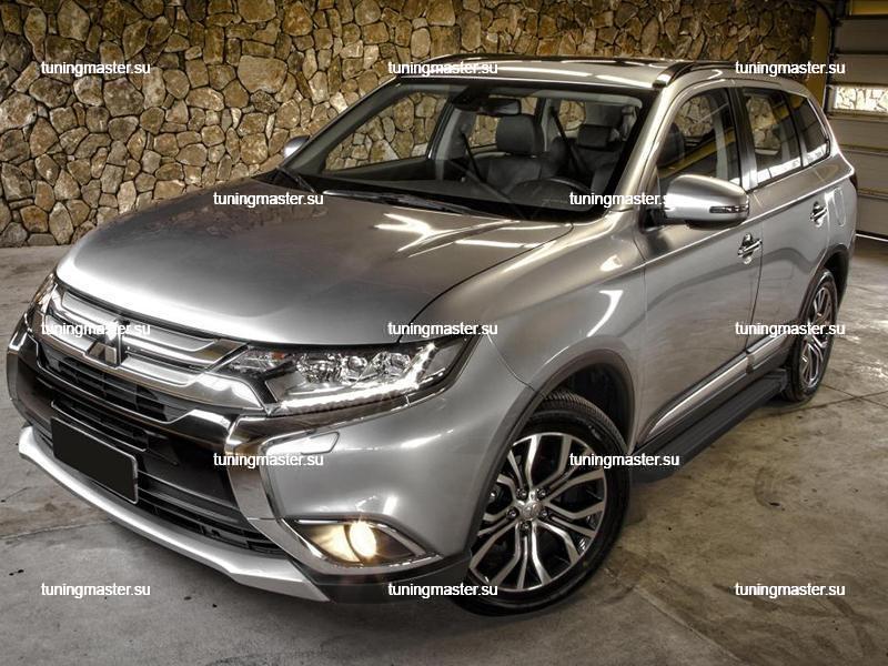 Пороги алюминиевые Mitsubishi Outlander (Black)