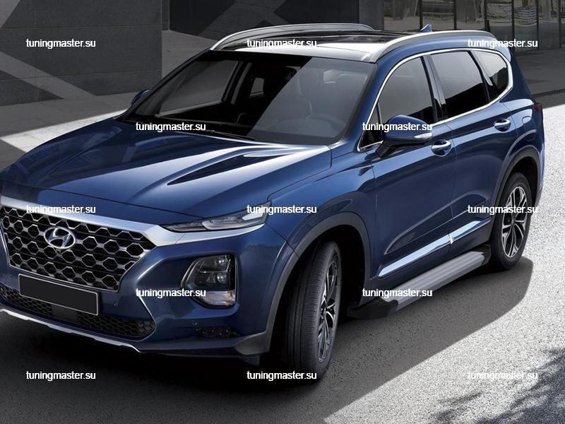 Пороги алюминиевые Hyundai Santa Fe (Silver)