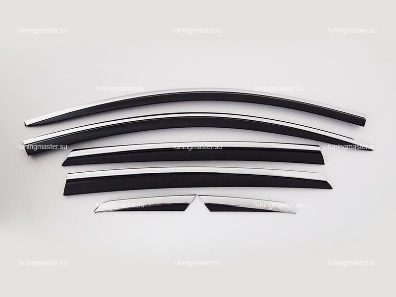 Дефлекторы боковые Kia Optima с хромированным молдингом