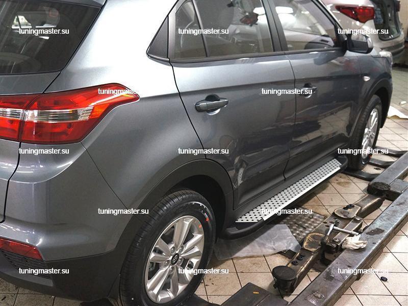 Пороги алюминиевые Hyundai Creta (Sapphire Silver)