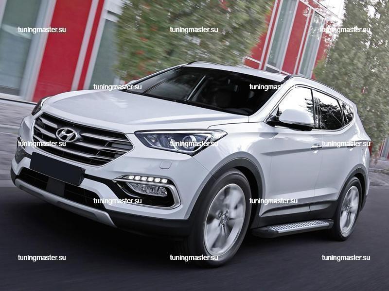 Пороги алюминиевые Hyundai Santa Fe (Style BMW)