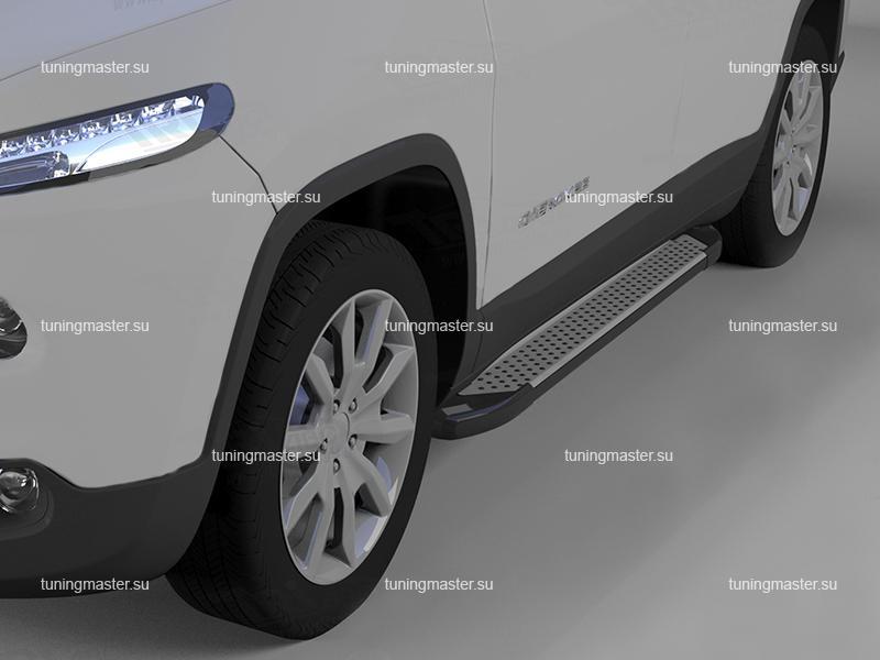 Пороги алюминиевые Jeep Cherokee (Sapphire)
