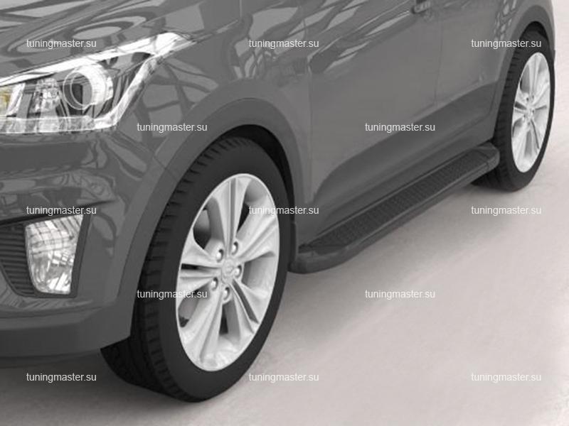 Пороги алюминиевые Hyundai Creta (Sapphire Black)