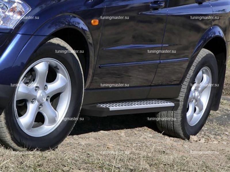 Пороги алюминиевые Ssang Yong Kyron (BMW Style)