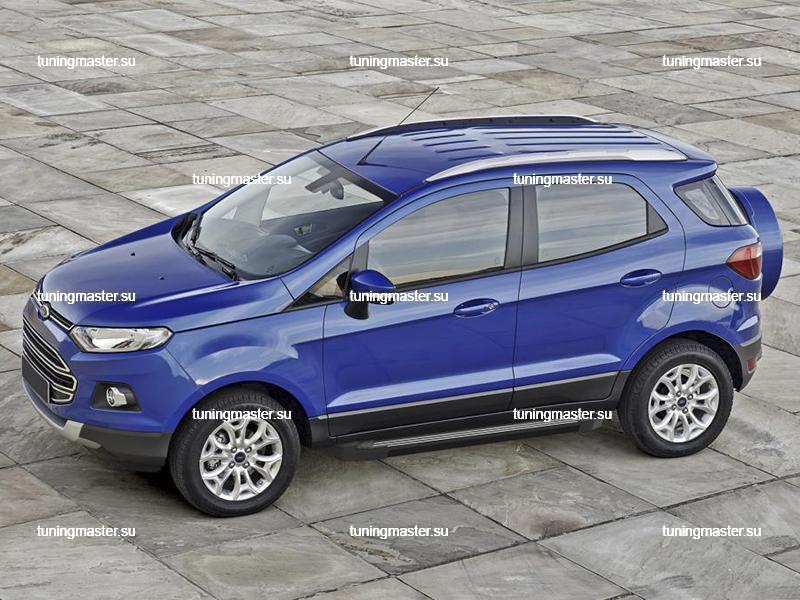 Пороги алюминиевые Ford EcoSport (Black)