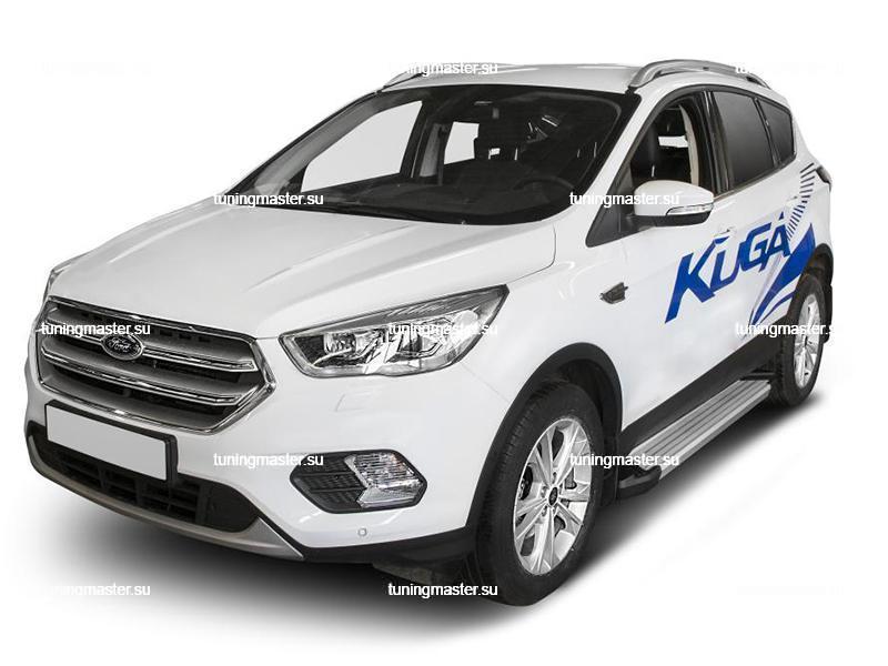 Пороги алюминиевые Ford Kuga (Silver)